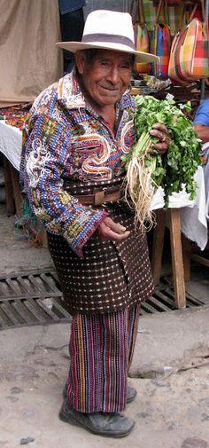 Mayan man with parsley at the market in #Chichicastenango, #Guatemala