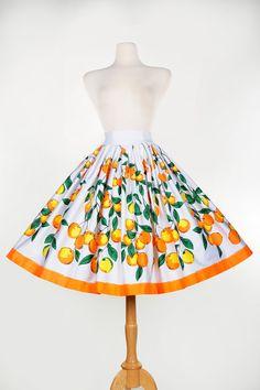 Jenny Skirt in Orange Branch Border Print
