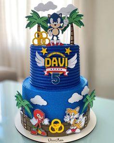 Sonic Birthday Cake, Sonic Birthday Parties, Sonic Party, Bolo Sonic, Sonic Cake, Call Of Duty Cakes, Sonic The Hedgehog Cake, Hedgehog Birthday, Unique Birthday Cakes