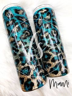 Miami Leopard - Custom Tumblers - HoMe Diy Tumblers, Personalized Tumblers, Custom Tumblers, Glitter Tumblers, Mom Tumbler, Tumbler Cups, Tumbler Posts, Yeti Cup, Cricut Craft Room