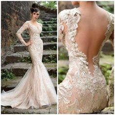 Champagne Wedding Dress 2015 With V Neck Sheer Open Back Long Sleeves Lace Appliques Mermaid Tulle Bridal Dress