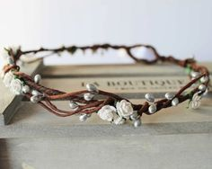 Mini White rose and Silver Pip Berry Floral Crown by Flashfloozy