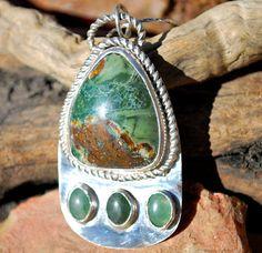 Jasper Pendant  Adventurine Pendant  Sterling by EarthsBountyGems