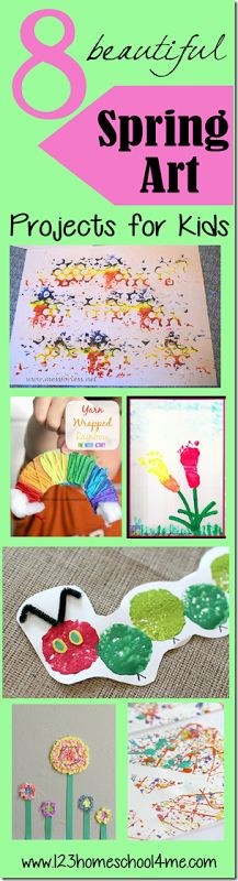 8 beautiful Spring Art Projects for kids: preschoolers, toddlers, and kindergarten age.