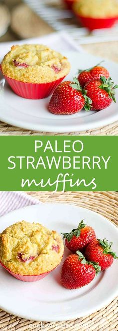 These paleo strawberry muffins are perfect for breakfast or an afternoon snack—a healthy recipe that's gluten-free, grain-free, with a dairy-free option. via @cookeatpaleo