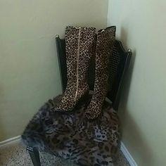 Boots High heel cheetah print boots open toe Paper Fox Shoes Heeled Boots