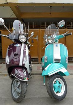 my current scooters.  Vespa LX150 daring plum with Fred Perry stripes (Lyla) and Vespa PX150E cascade green with white racing stripes (Emerald)