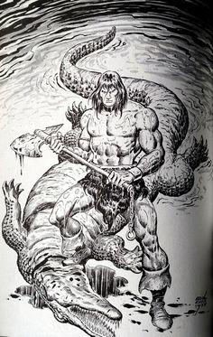 Conan the Barbarian by Ernie Chan Fantasy Art Men, Fantasy Films, Fantasy Images, Fantasy Artwork, Comic Books Art, Comic Art, Conan The Barbarian Comic, Conan O Barbaro, Prehistoric Wildlife