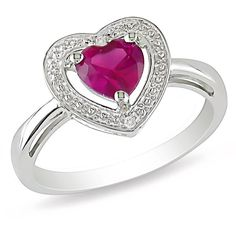 Ice Diamond, Created Ruby Sterling Silver Ring (4710 RSD) ❤ liked on Polyvore