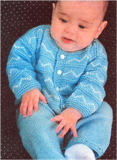 Das Schema des Strickens, Jacke und Hose für Babys pp 3-6 Monate