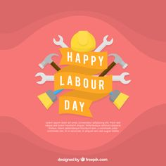 Worker's day background with tools. Download thousands of free vectors on Freepik, the finder with more than 3 millions free graphic resources Workers Day, Labour Day, Happy Labor Day, Happy People, Vectors, Vector Free, How To Draw Hands, Tools, Instruments