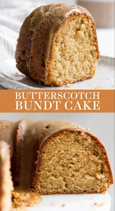 fall desserts Butterscotch Bundt Cake features a homemade brown sugar sour cream cake drizzled with an easy from-scratch thick butterscotch icing! This recipe is the best fall dessert id Mini Desserts, Fall Desserts, Just Desserts, Delicious Desserts, Desserts With Sour Cream, Pound Cake Recipes, Easy Cake Recipes, Baking Recipes, Dessert Recipes