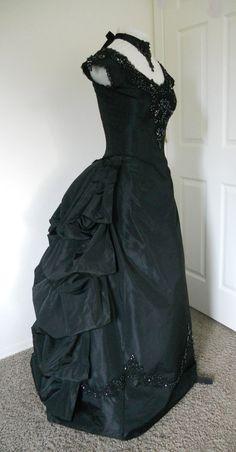 Black Bustled Victorian Dress