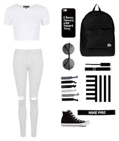 """B&W part 2"" by mariahnavarro ❤ liked on Polyvore featuring Topshop, Converse, NIKE, France Luxe, Casetify, Quiksilver, West Elm and Sisley Paris"