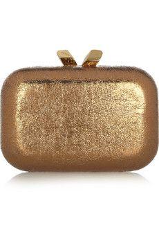 Kotur Margo Crinkle metallic box clutch   NET-A-PORTER