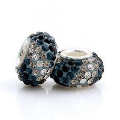 Silver Blue Yellow White Stripes Crystal Bead