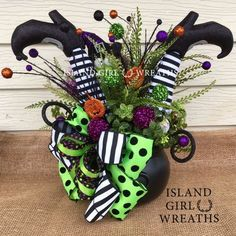 Updates from IslandGirlWreaths on Etsy Fun Halloween centerpiece Table Halloween, Halloween Deco Mesh, Halloween Door Decorations, Outdoor Halloween, Holidays Halloween, Halloween Pumpkins, Halloween Crafts, Holiday Crafts, Halloween Centerpieces