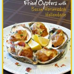 Fried Oysters with Bacon Horseradish Hollandaise Recipe Fish Dishes, Seafood Dishes, Fish And Seafood, Shellfish Recipes, Seafood Recipes, Cooking Recipes, Sushi Recipes, Cooking 101, Seafood