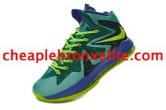 843e09b08bf0 Nike Lebron X PS Elite Series Dark Slate Blue Electric Green 579827 300  Cheap Jordans