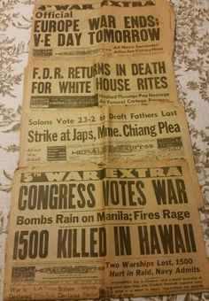 1941-1945 Historical Headlines WWII Pearl Harbor/VE Day Herald Newspapers