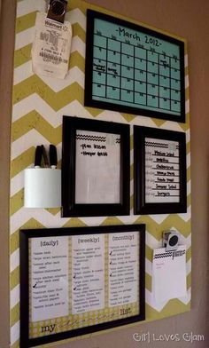 Household management station -- frame everything behind glass, then write on the calendar, update the meal plan, check off the to-do list with a dry erase marker. | I have been wanting to make one of these for the side of the fridge. Might do it this week!