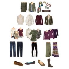 Colors are warm autumn leaning deep.  Neutral: ivory Palette: olive/moss and purple/red cluster