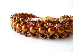Copper Pearl and Crystal Bead Woven Bracelet