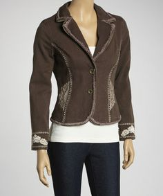 Take a look at this Brown Embroidered Blazer by Shabri Fashions on #zulily today!