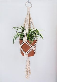Great Cost-Free 80 Fantastic DIY Macrame Plant Hanger Ideas - Balcony Decoration Ideas in Every . Style When there is small space for the keeping flowerpots, hanging flowerpots certainly are a excellent O Diy Macrame Plant Hanger, Rope Plant Hanger, Metal Plant Hangers, Cotton Plant, Plant Holders, Container Plants, Flower Pots, Terrarium, House Plants