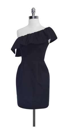 Rebecca Taylor Black Cotton & Silk One Shoulder Dress