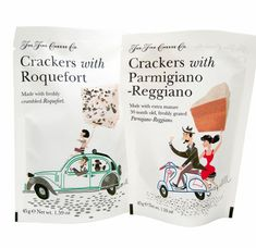 The Fine Cheese Co. - Crackers with Roquefort; Crackers with Parmigiano-Reggiano Dairy Packaging, Cheese Packaging, Parmigiano Reggiano, Crackers, Baked Goods, Packaging Design, Branding, Snacks, Typography