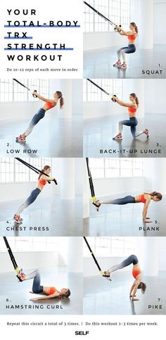 Your Entire Body With This Supercharged TRX Workout Do this routine of powerhouse basics to perfect your TRX technique while you zing every muscle.Do this routine of powerhouse basics to perfect your TRX technique while you zing every muscle. Suspension Training, Suspension Workout, Trx Suspension Trainer, Pilates Training, Training Fitness, Sport Fitness, Muscle Fitness, Fitness Equipment, Gain Muscle