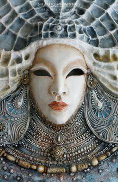 Купить Инанна - голубой, инанна, маска, авторская маска, интерьерная маска, шахристенберг, архетип