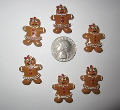 6 NEW CHRISTMAS GINGERBREAD MEN FLAT BACK RESINS
