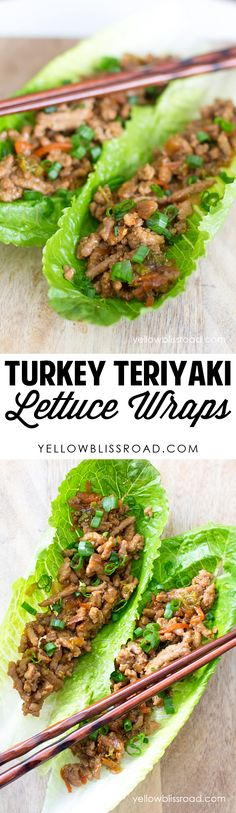 Turkey Teriyaki Lettuce Wrap recipe. Delicious and healthy dinner idea.