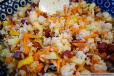 Spam Musubi Chirashi Sushi [Food Bloggers Against Hunger]: Spam, Scrambled Eggs, Carrots and Kohlrabi tossed with seasoned rice.