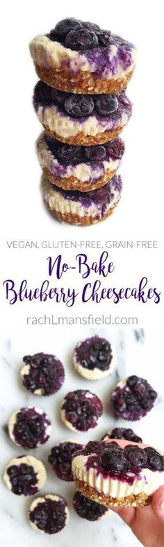 No-Bake Blueberry Cheesecakes. An easy and delicious vegan, gluten-free and grain-free dessert. For any cheesecake lover!