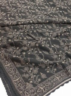 Lucknow chikan online Saree Black Cotton with very fine chikankari murri, shadow & kangan work with designer thick border & bootis allover on body with blouse piece  $110