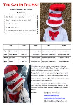 Halloween : Cat in the Hat Crochet Pattern ~ Link correct and pattern is FREE when I checked on March 2015 USA terminology Child to adult sizes Crochet Bow Pattern, Crochet Bows, Crochet Kids Hats, Crochet For Boys, Crochet Beanie, Crochet Crafts, Easy Crochet, Crochet Stitches, Free Crochet