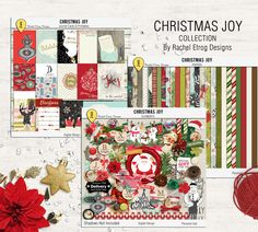 Christmas Joy Bundle - Digital Scrapbooking Bundle + Project Life Pocket Page Cards by Racheletrogdesigns on Etsy