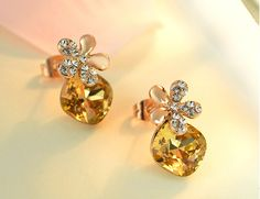 Gorgeous 18K Gold Plated Ear Studs, Micro Pave AAA Zircon Flower with Citrine, Golden