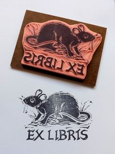 Black Rat Ex Libris Bookplate Mouse Library Stamp