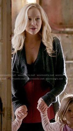 Caroline's grey draped cardigan on The Vampire Diaries.  Outfit Details: https://wornontv.net/57987/ #TheVampireDiaries