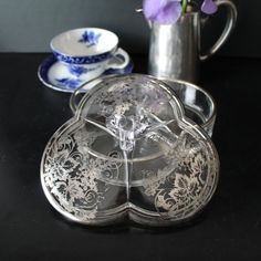 New Martinsville covered candy dish with Silver by Hallingtons