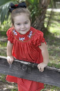 This and That For Kids - Hand Smocked Cows Red Polka Dot Bishop Dress, $36.00 (http://www.thisandthatforkids.com/F13520)