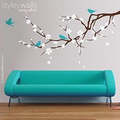 "Cherry Blossom Branch and Birds Wall Decal, Branch with Flowers Wall Decal, Cherry Tree Wall Sticker, Blossoming Cherry Branch Wall Decal for Home Decor, Nursery Baby Room Decor. his Blossoming Almond Branch decal measures 47"" wide by 21.2"" high. The decal comes with 4 birds, flowers and with falling leaves, you can arrange them where you want them to be. Please check the measurements provided above to order that would work best for you. If you need a smaller or larger size then just send…"
