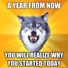 a year from now you will realize why you started today - Courage Wolf