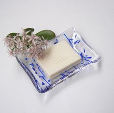 Clear and Royal Blue  Fused Glass Soap by GreenhouseGlassworks