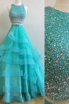 Beaded blue organza prom dress, ball gown, cute two pieces dress for prom 2017