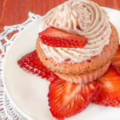 These strawberry muffins are made with a lemon strawberry cream cheese icing.. Strawberry Muffins Recipe from Grandmothers Kitchen.